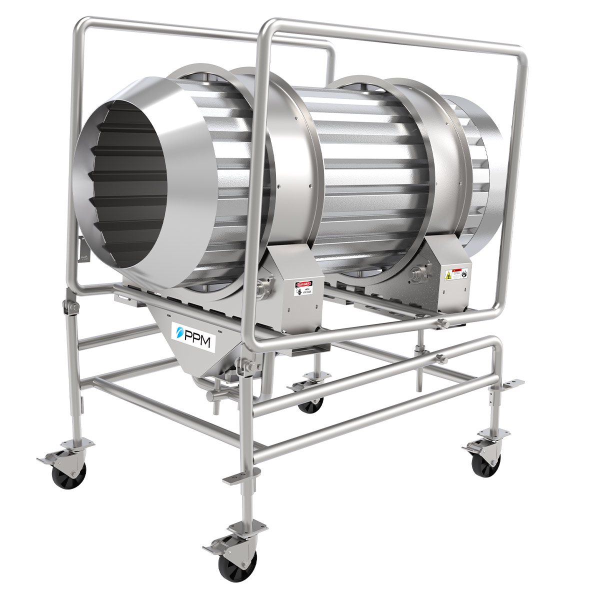 PPM Technologies - stainless steel seasoning and coating drum cradle frame